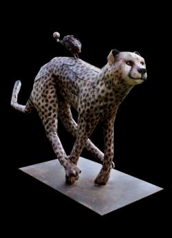 Guépard, hérisson, escargot. Fer et bois (thuya). Symposium de sculpture d'Oudon (Loire Atlantique) ©Thierry Chollat