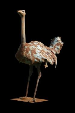 Autruche Fer et bois (thuya) - 150x206x75 cm - Conçue pour résister en extérieur ©Thierry Chollat