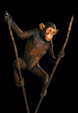 Chimpanzé Fer et bois (thuya) échelle 1 - Conçu pour résister en extérieur ©Thierry Chollat