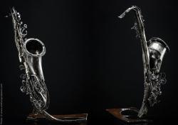 Escapades nocturnes Saxophone ténor en fer. L 90 x H 85 x l 54 Interprétations d'instruments de Musique ©Thierry Chollat