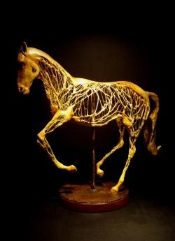 cheval fer papier mâché pâtes lin - Thierry Chollat sculpture Isère France