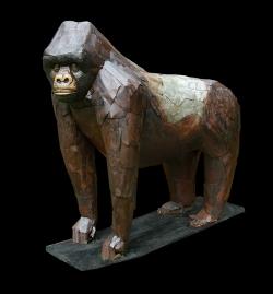 Gorille des montagnes Fer et bois (thuya) - 165x80x157 cm -Conçu pour résister en extérieur ©Thierry Chollat
