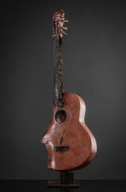 Guitare Fer et bois (séquoia et hêtre) Interprétations d'instruments de Musique ©Thierry Chollat