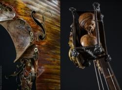 L'aveu des méandres. Violoncelle en fer, laiton et bois (noyer). L63xH160,5xl52. Thierry Chollat, sculpteur, Isère, France.