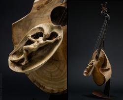 Murmures fugitifs. Guitare fer et bois (cerisier, tilleul ) L43xH109xl30 Thierry Chollat, sculpteur, Isère, France, instruments