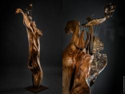 Orphée Lyre en fer et bois (magnolia) Interprétations d'instruments de Musique ©Thierry Chollat