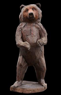 Ours brun Fer et bois (Thuya) - Echelle 1 - Conçu pour résister en extérieur ©Thierry Chollat